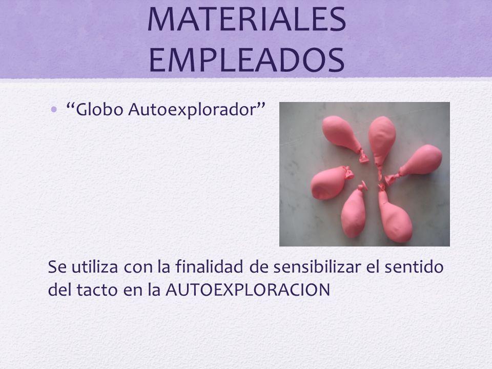 MATERIALES EMPLEADOS Globo Autoexplorador Se utiliza con la finalidad de sensibilizar el sentido del tacto en la AUTOEXPLORACION