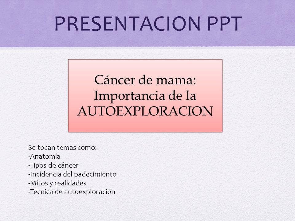 PRESENTACION PPT Cáncer de mama: Importancia de la AUTOEXPLORACION Se tocan temas como: -Anatomía -Tipos de cáncer -Incidencia del padecimiento -Mitos