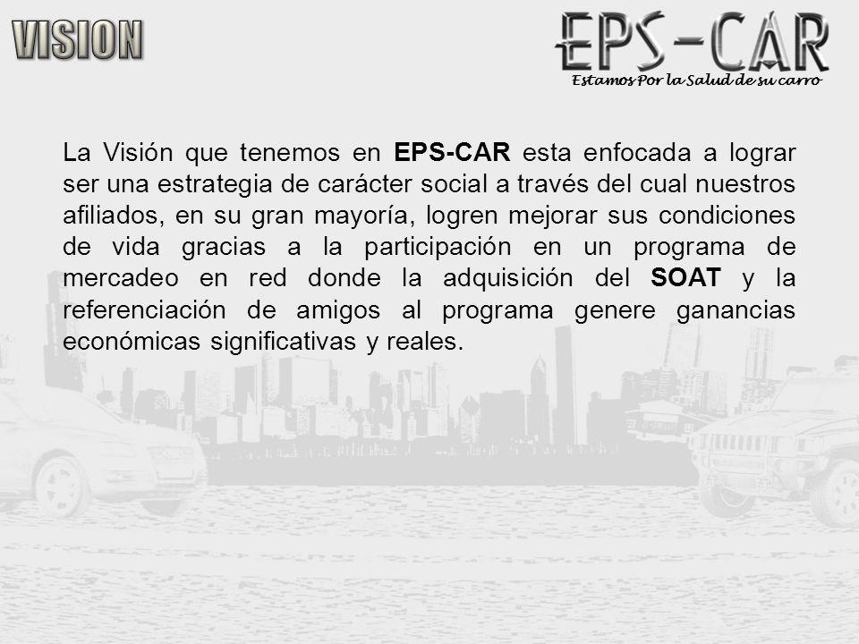 Estamos Por la Salud de su carro Cada afiliado al programa EPS-CAR, debe construir su red cerrada de cinco (5) posiciones de frente por cinco (5) niveles de profundidad con los siguientes pasos para lograr sus beneficios económicos.
