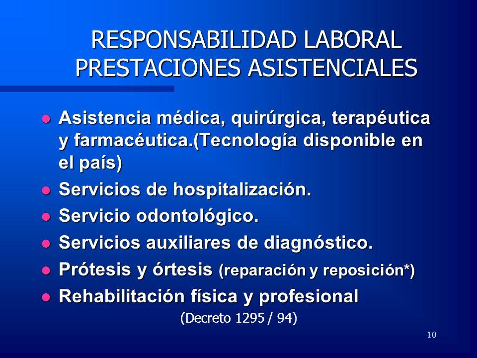 10 RESPONSABILIDAD LABORAL PRESTACIONES ASISTENCIALES Asistencia médica, quirúrgica, terapéutica y farmacéutica.(Tecnología disponible en el país) Asi