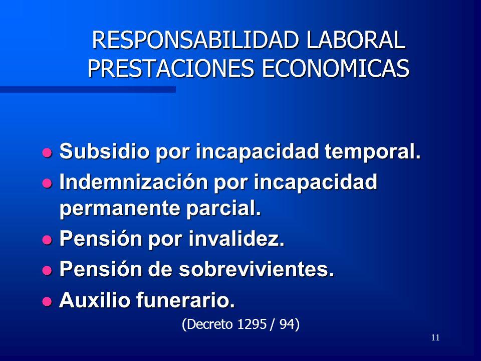 11 RESPONSABILIDAD LABORAL PRESTACIONES ECONOMICAS Subsidio por incapacidad temporal. Subsidio por incapacidad temporal. Indemnización por incapacidad