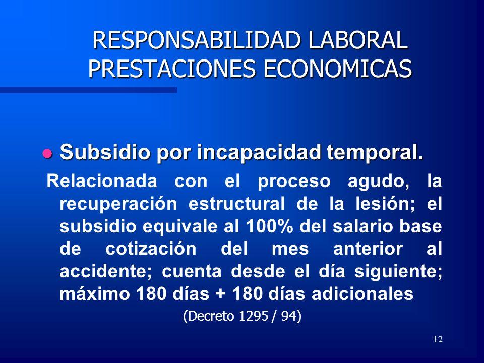12 RESPONSABILIDAD LABORAL PRESTACIONES ECONOMICAS Subsidio por incapacidad temporal. Subsidio por incapacidad temporal. Relacionada con el proceso ag