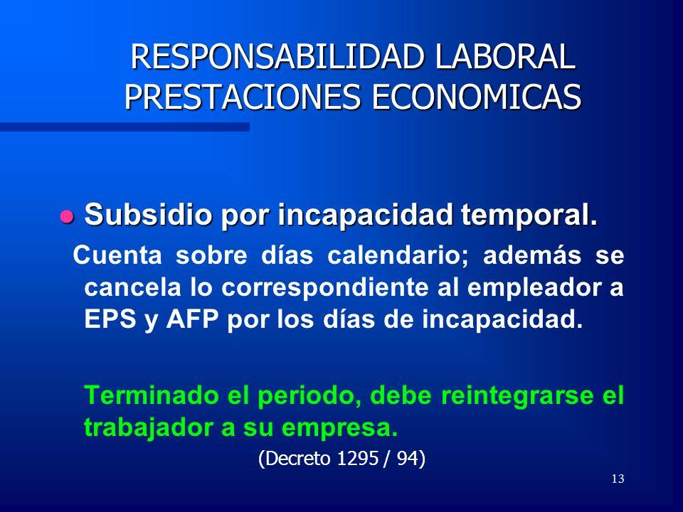 13 RESPONSABILIDAD LABORAL PRESTACIONES ECONOMICAS Subsidio por incapacidad temporal. Subsidio por incapacidad temporal. Cuenta sobre días calendario;