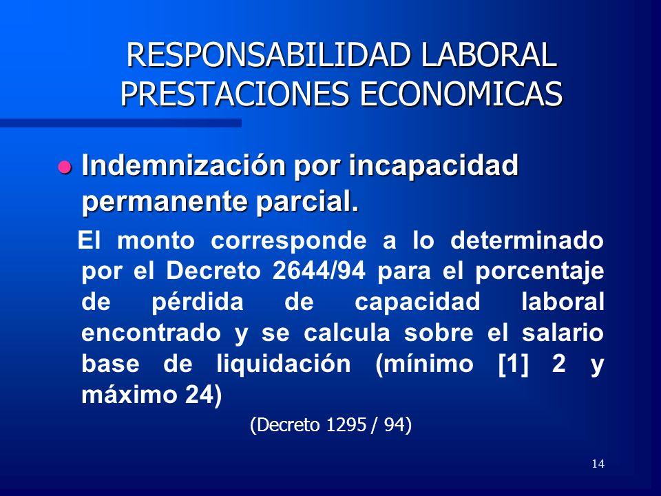14 RESPONSABILIDAD LABORAL PRESTACIONES ECONOMICAS Indemnización por incapacidad permanente parcial. Indemnización por incapacidad permanente parcial.