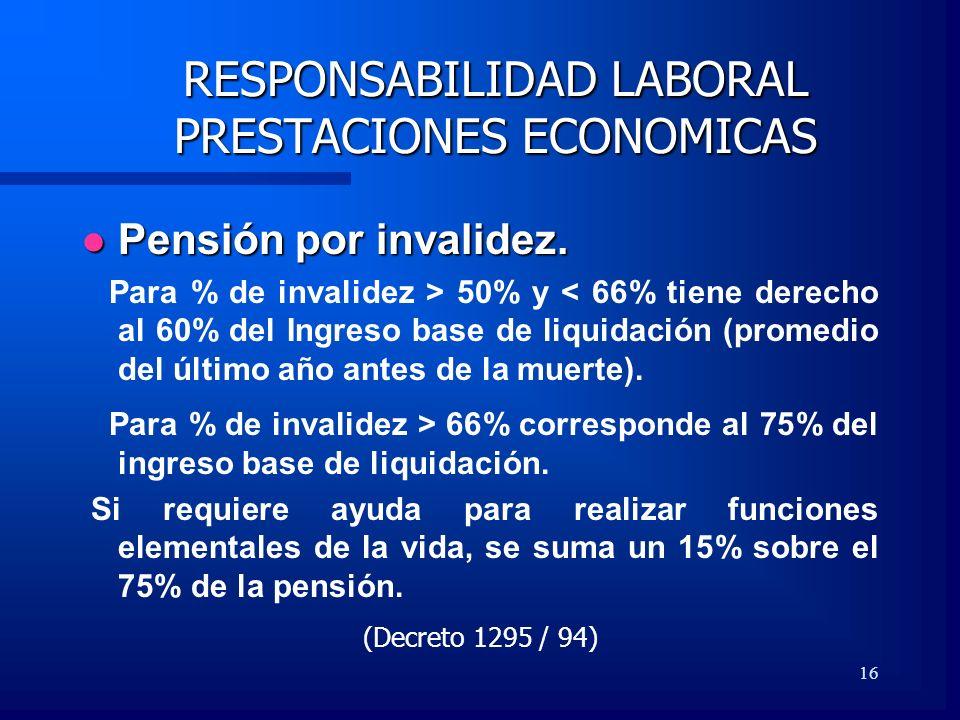 16 RESPONSABILIDAD LABORAL PRESTACIONES ECONOMICAS Pensión por invalidez. Pensión por invalidez. Para % de invalidez > 50% y < 66% tiene derecho al 60