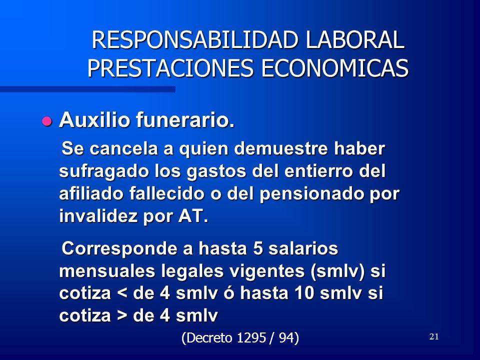 21 RESPONSABILIDAD LABORAL PRESTACIONES ECONOMICAS Auxilio funerario. Auxilio funerario. Se cancela a quien demuestre haber sufragado los gastos del e