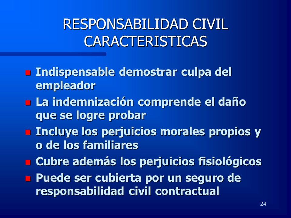 24 RESPONSABILIDAD CIVIL CARACTERISTICAS n Indispensable demostrar culpa del empleador n La indemnización comprende el daño que se logre probar n Incl
