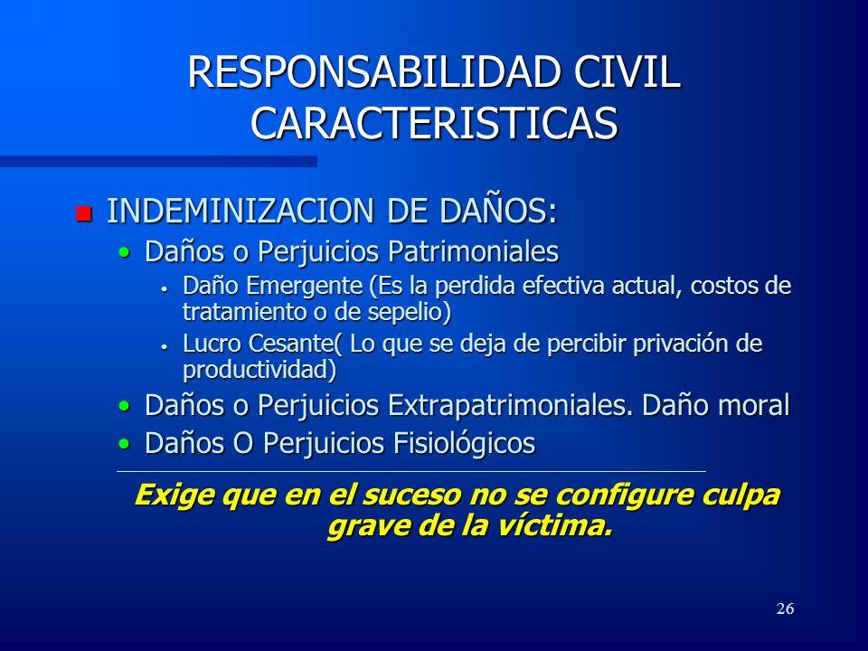 26 RESPONSABILIDAD CIVIL CARACTERISTICAS n INDEMINIZACION DE DAÑOS: Daños o Perjuicios PatrimonialesDaños o Perjuicios Patrimoniales Daño Emergente (E