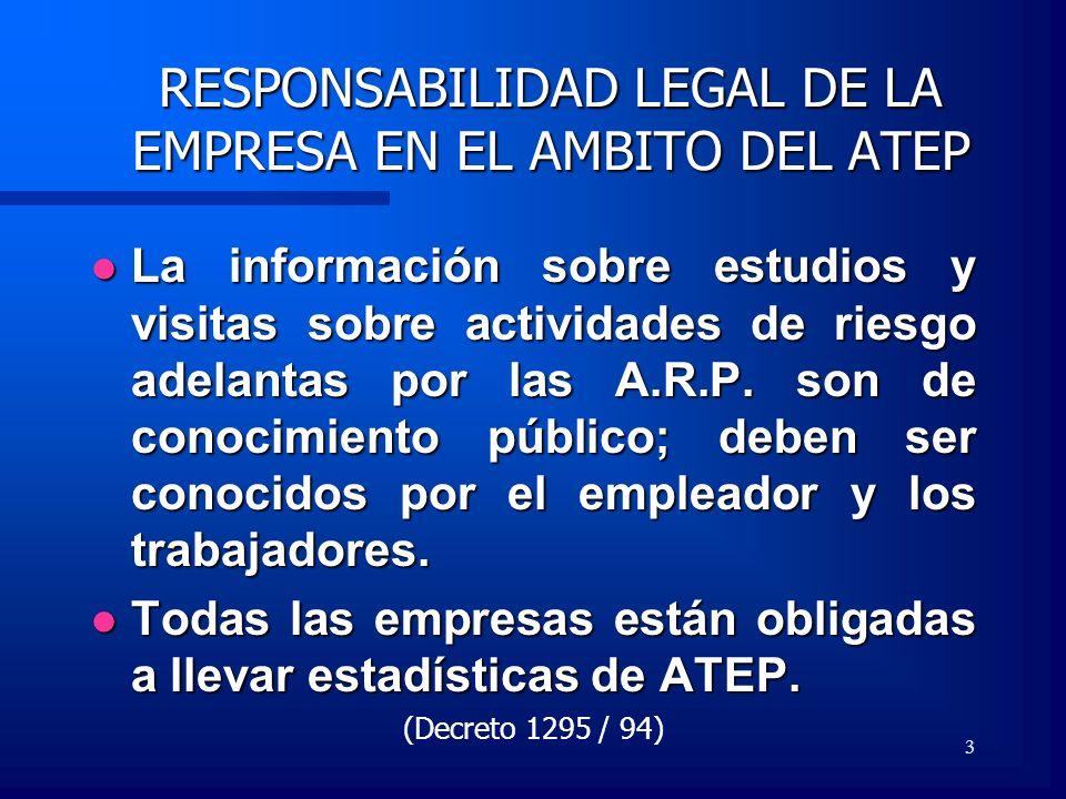 3 RESPONSABILIDAD LEGAL DE LA EMPRESA EN EL AMBITO DEL ATEP La información sobre estudios y visitas sobre actividades de riesgo adelantas por las A.R.