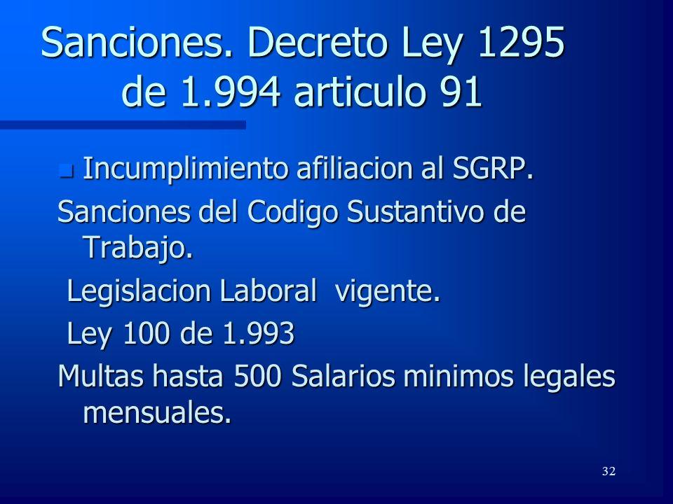 32 Sanciones. Decreto Ley 1295 de 1.994 articulo 91 n Incumplimiento afiliacion al SGRP. Sanciones del Codigo Sustantivo de Trabajo. Legislacion Labor