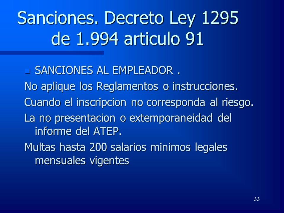 33 Sanciones. Decreto Ley 1295 de 1.994 articulo 91 n SANCIONES AL EMPLEADOR. No aplique los Reglamentos o instrucciones. Cuando el inscripcion no cor
