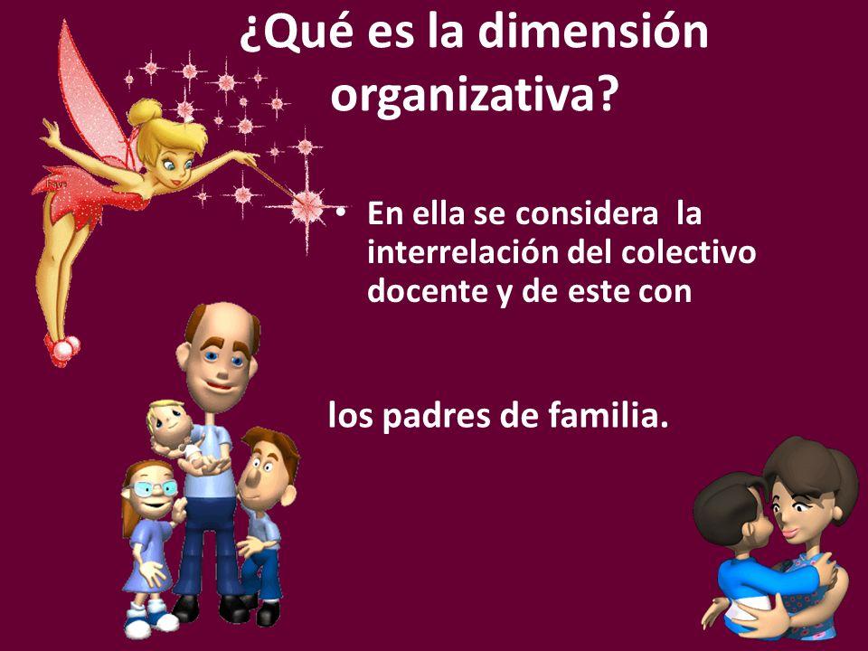 En ella se considera la interrelación del colectivo docente y de este con ¿Qué es la dimensión organizativa? los padres de familia.