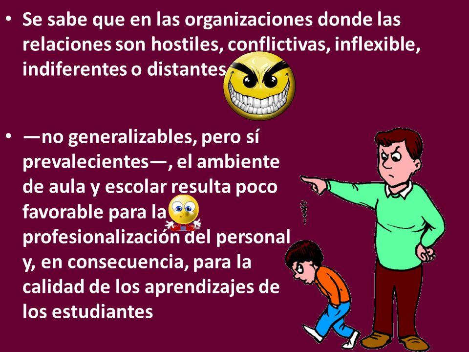 Se sabe que en las organizaciones donde las relaciones son hostiles, conflictivas, inflexible, indiferentes o distantes no generalizables, pero sí pre