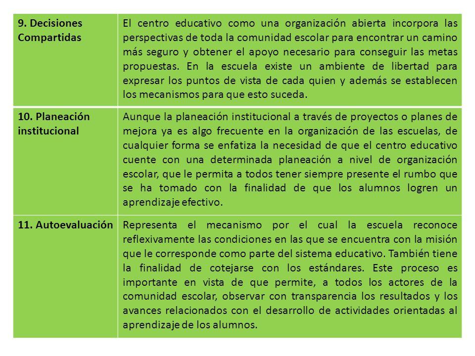 9. Decisiones Compartidas El centro educativo como una organización abierta incorpora las perspectivas de toda la comunidad escolar para encontrar un
