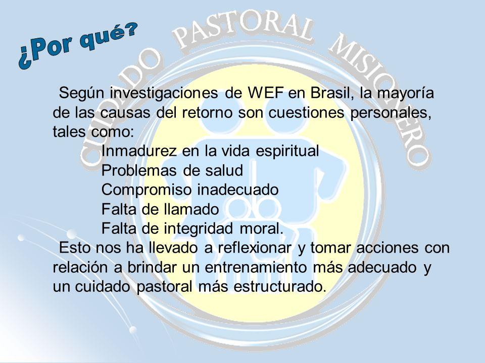 Según investigaciones de WEF en Brasil, la mayoría de las causas del retorno son cuestiones personales, tales como: Inmadurez en la vida espiritual Pr