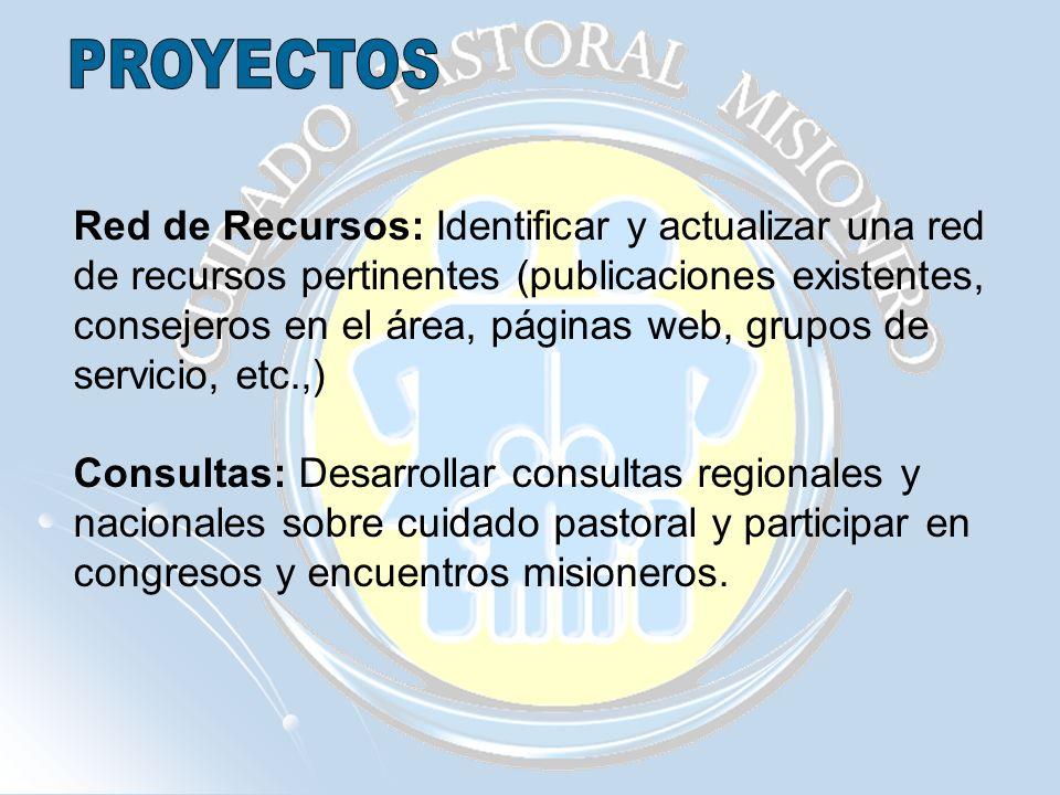 Red de Recursos: Identificar y actualizar una red de recursos pertinentes (publicaciones existentes, consejeros en el área, páginas web, grupos de ser