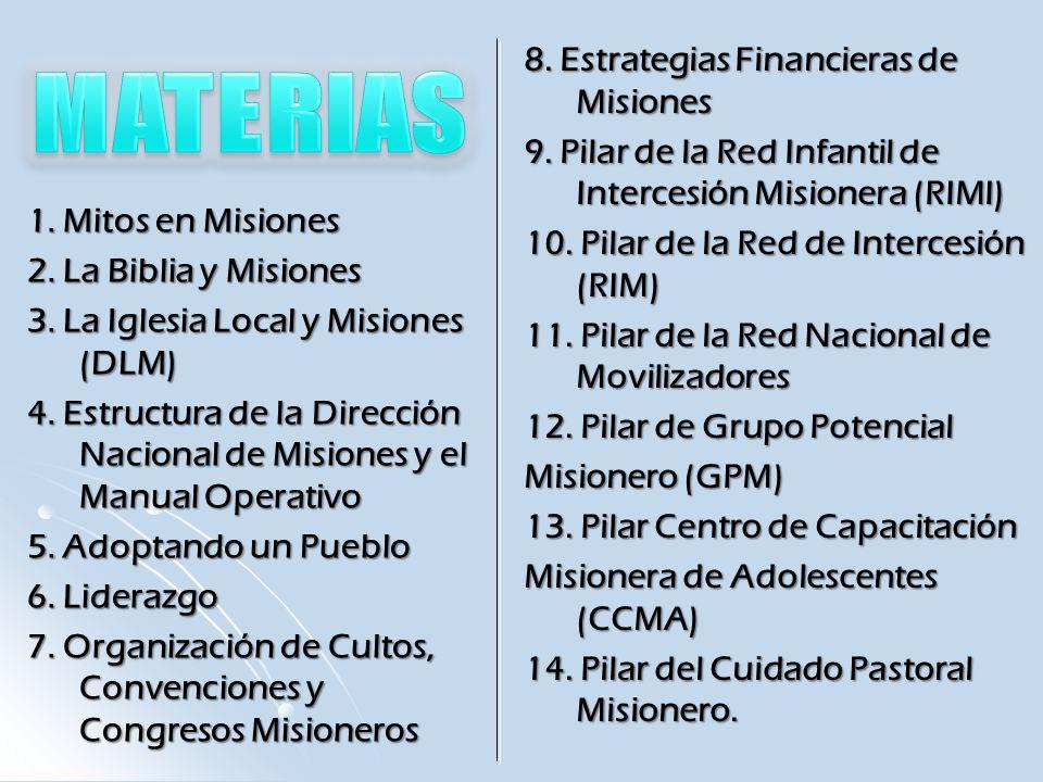 1. Mitos en Misiones 2. La Biblia y Misiones 3. La Iglesia Local y Misiones (DLM) 4. Estructura de la Dirección Nacional de Misiones y el Manual Opera