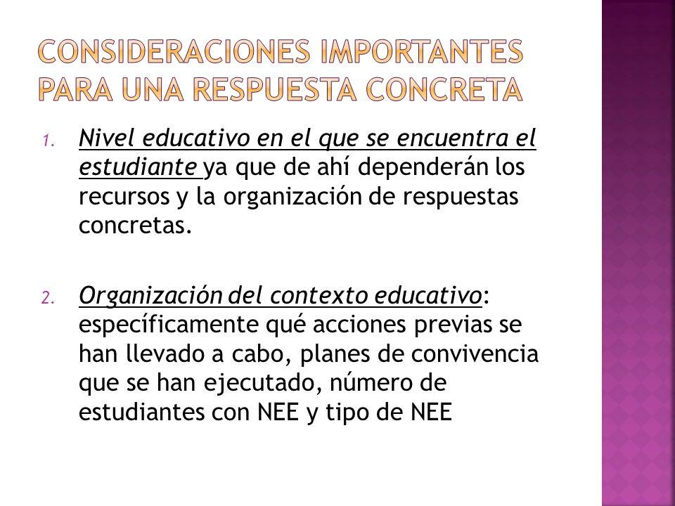 1. Nivel educativo en el que se encuentra el estudiante ya que de ahí dependerán los recursos y la organización de respuestas concretas. 2. Organizaci