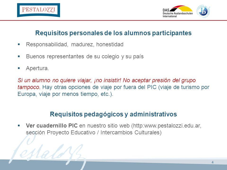 4 Requisitos personales de los alumnos participantes Responsabilidad, madurez, honestidad Buenos representantes de su colegio y su país Apertura. Si u