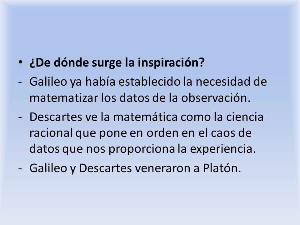 ¿De dónde surge la inspiración? -Galileo ya había establecido la necesidad de matematizar los datos de la observación. -Descartes ve la matemática com