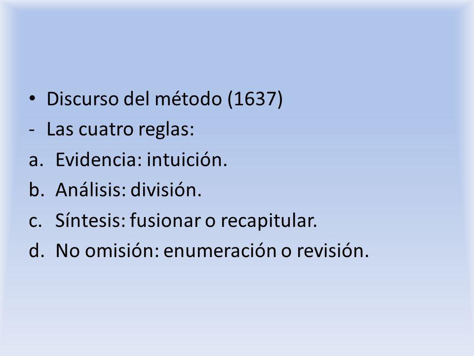 Discurso del método (1637) -Las cuatro reglas: a.Evidencia: intuición. b.Análisis: división. c.Síntesis: fusionar o recapitular. d.No omisión: enumera