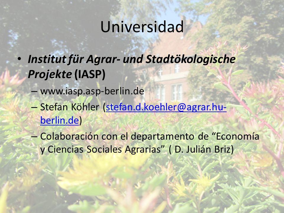 Universidad Institut für Agrar- und Stadtökologische Projekte (IASP) – www.iasp.asp-berlin.de – Stefan Köhler (stefan.d.koehler@agrar.hu- berlin.de)st