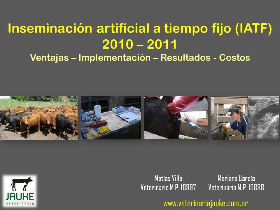Inseminación artificial a tiempo fijo (IATF) 2010 – 2011 Ventajas – Implementación – Resultados - Costos Matías Villa Veterinario M.P.