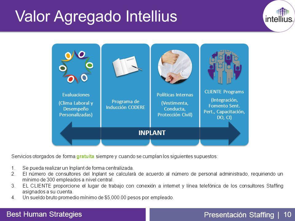 | 10 Valor Agregado Intellius Best Human Strategies Presentación Staffing Servicios otorgados de forma gratuita siempre y cuando se cumplan los siguie