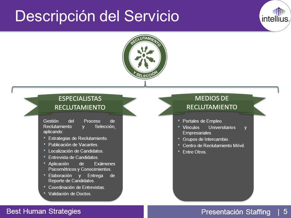 | 5 Descripción del Servicio Best Human Strategies Presentación Staffing MEDIOS DE RECLUTAMIENTO Portales de Empleo. Vínculos Universitarios y Empresa