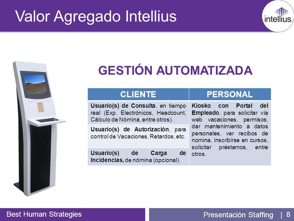 | 8 Valor Agregado Intellius Best Human Strategies Presentación Staffing GESTIÓN AUTOMATIZADA CLIENTEPERSONAL Usuario(s) de Consulta, en tiempo real (