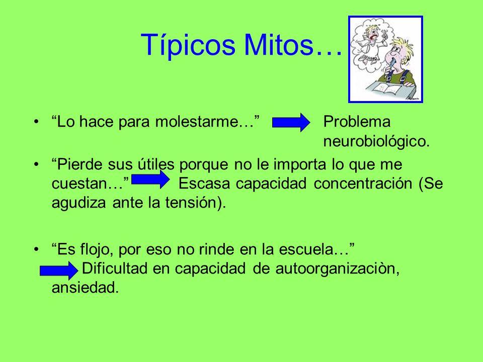 Típicos Mitos… Lo hace para molestarme… Problema neurobiológico. Pierde sus útiles porque no le importa lo que me cuestan…Escasa capacidad concentraci