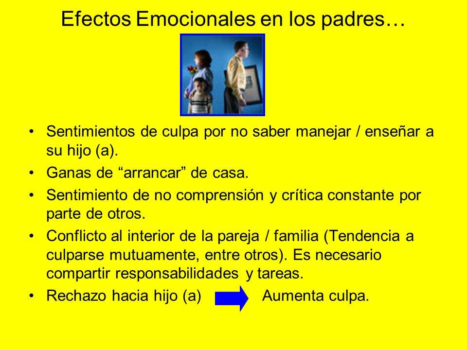 Efectos Emocionales en los padres… Sentimientos de culpa por no saber manejar / enseñar a su hijo (a). Ganas de arrancar de casa. Sentimiento de no co