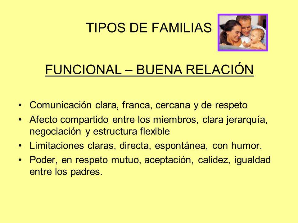 TIPOS DE FAMILIAS FUNCIONAL – BUENA RELACIÓN Comunicación clara, franca, cercana y de respeto Afecto compartido entre los miembros, clara jerarquía, n