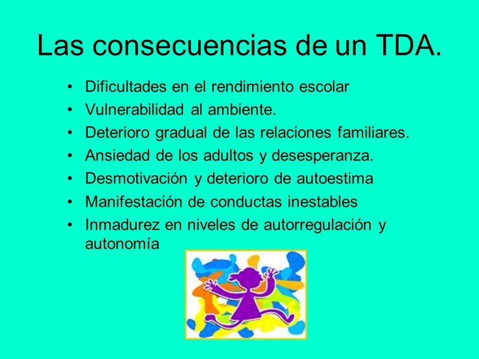 Las consecuencias de un TDA. Dificultades en el rendimiento escolar Vulnerabilidad al ambiente. Deterioro gradual de las relaciones familiares. Ansied