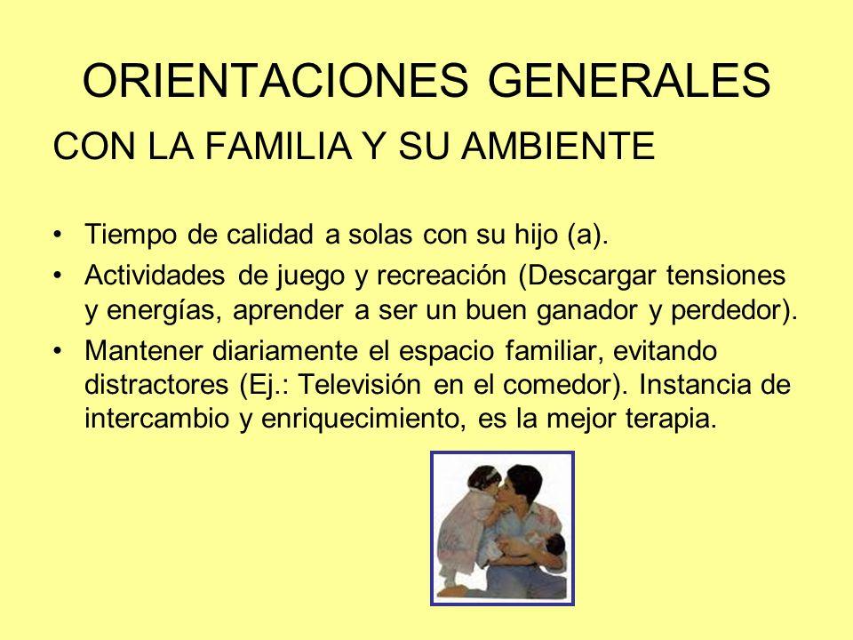 ORIENTACIONES GENERALES CON LA FAMILIA Y SU AMBIENTE Tiempo de calidad a solas con su hijo (a). Actividades de juego y recreación (Descargar tensiones