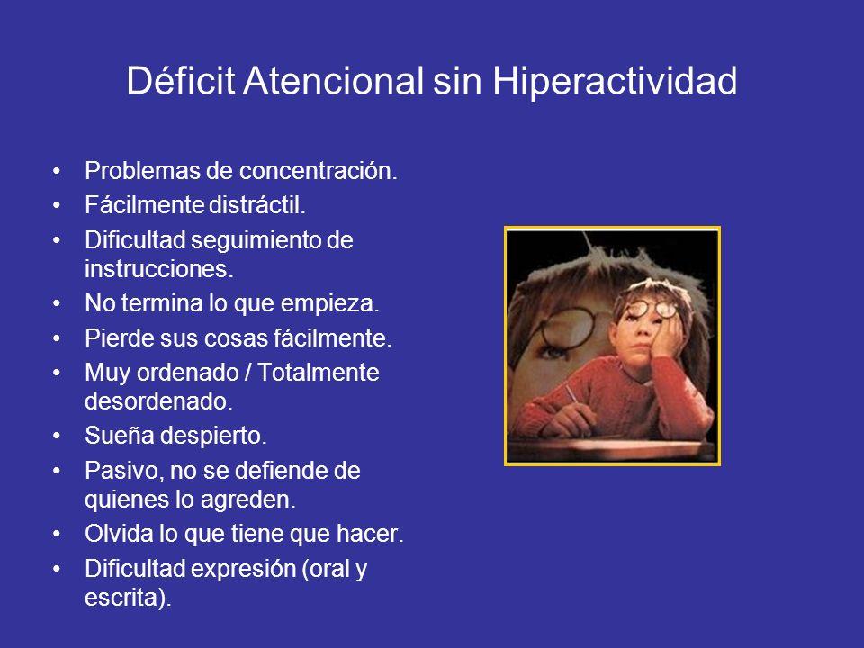 Déficit Atencional sin Hiperactividad Problemas de concentración. Fácilmente distráctil. Dificultad seguimiento de instrucciones. No termina lo que em