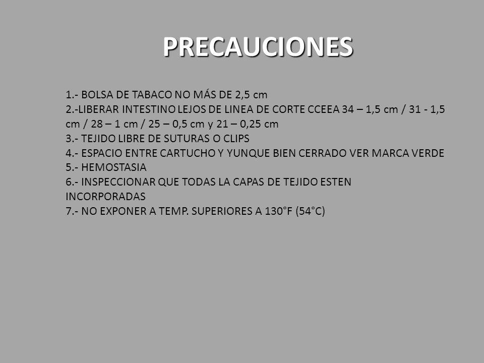 PRECAUCIONES 1.- BOLSA DE TABACO NO MÁS DE 2,5 cm 2.-LIBERAR INTESTINO LEJOS DE LINEA DE CORTE CCEEA 34 – 1,5 cm / 31 - 1,5 cm / 28 – 1 cm / 25 – 0,5