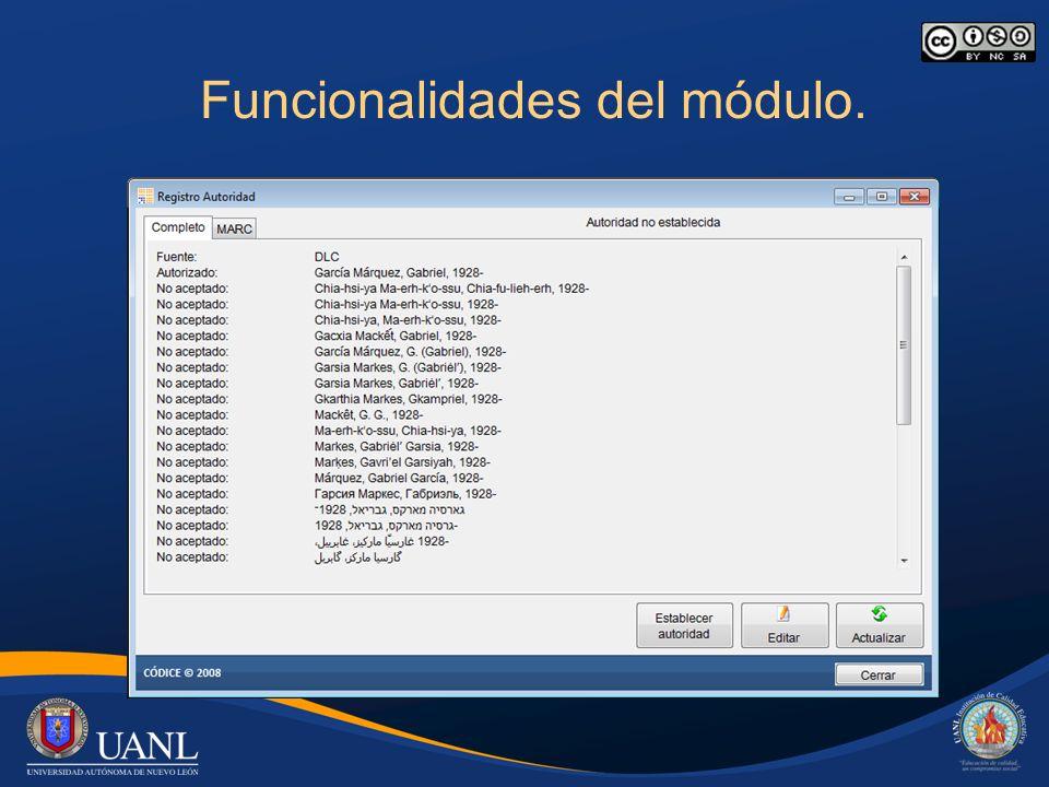 Funcionalidades del módulo. Registros de autoridad