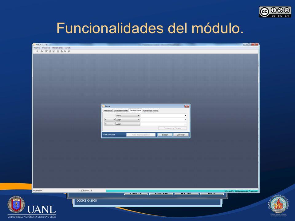 Funcionalidades del módulo. Conexiones a bases de datos Z3950.