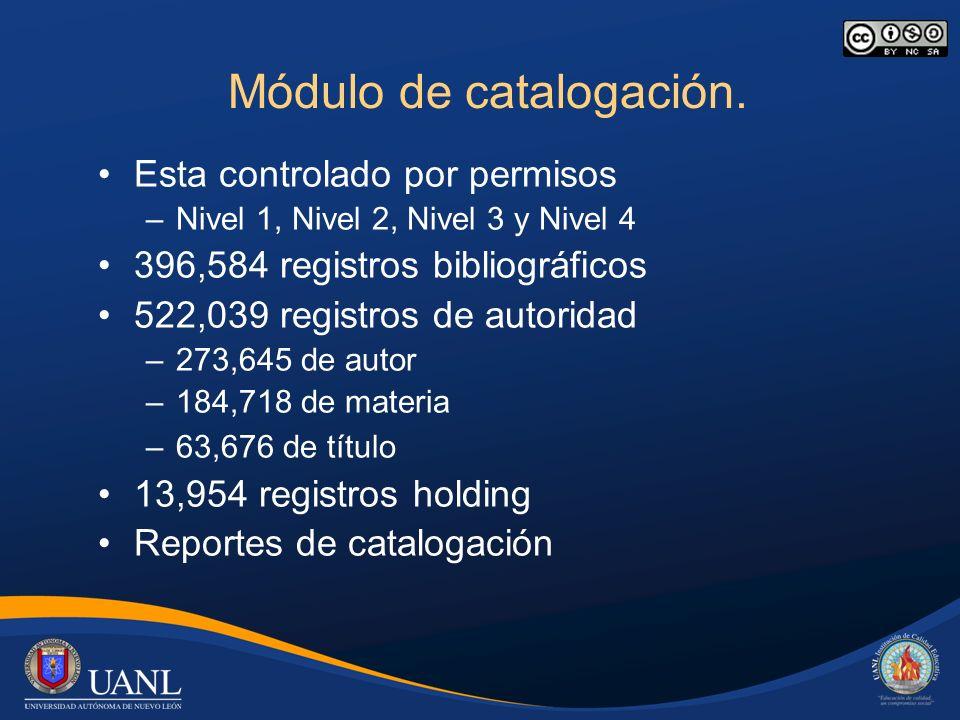 Módulo de catalogación. Esta controlado por permisos –Nivel 1, Nivel 2, Nivel 3 y Nivel 4 396,584 registros bibliográficos 522,039 registros de autori