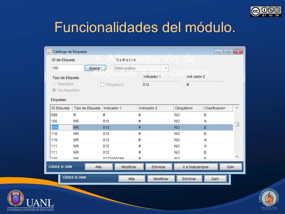 Funcionalidades del módulo. Administración de etiquetas y sub campos