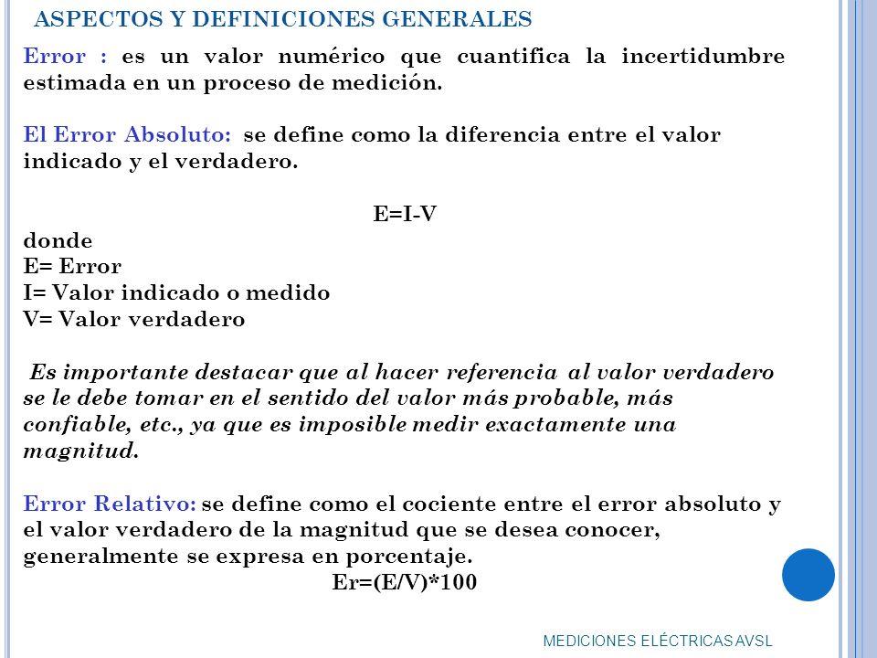 MEDICIONES ELÉCTRICAS AVSL Error : es un valor numérico que cuantifica la incertidumbre estimada en un proceso de medición. El Error Absoluto: se defi