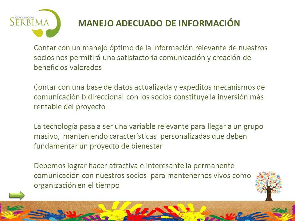 MANEJO ADECUADO DE INFORMACIÓN Contar con un manejo óptimo de la información relevante de nuestros socios nos permitirá una satisfactoria comunicación
