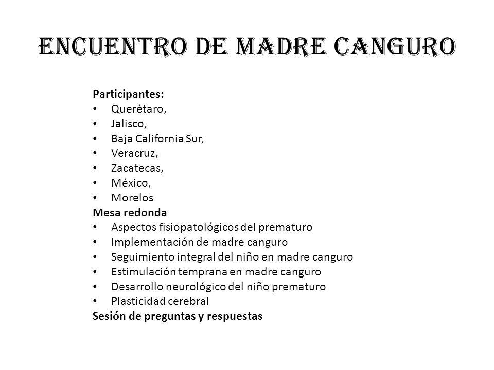 Encuentro de madre canguro Participantes: Querétaro, Jalisco, Baja California Sur, Veracruz, Zacatecas, México, Morelos Mesa redonda Aspectos fisiopat