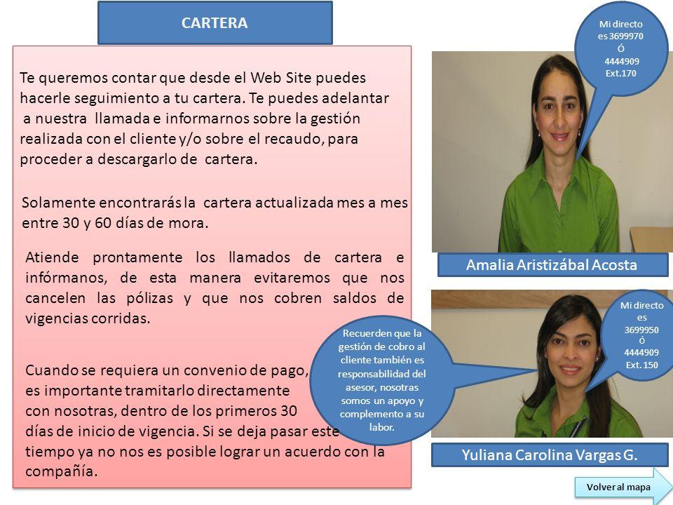 CARTERA Amalia Aristizábal Acosta Yuliana Carolina Vargas G. Te queremos contar que desde el Web Site puedes hacerle seguimiento a tu cartera. Te pued