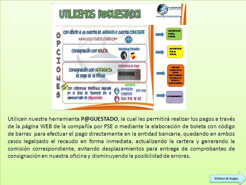 Utilicen nuestra herramienta P@GUESTADO, la cual les permitirá realizar los pagos a través de la página WEB de la compañía por PSE o mediante la elabo