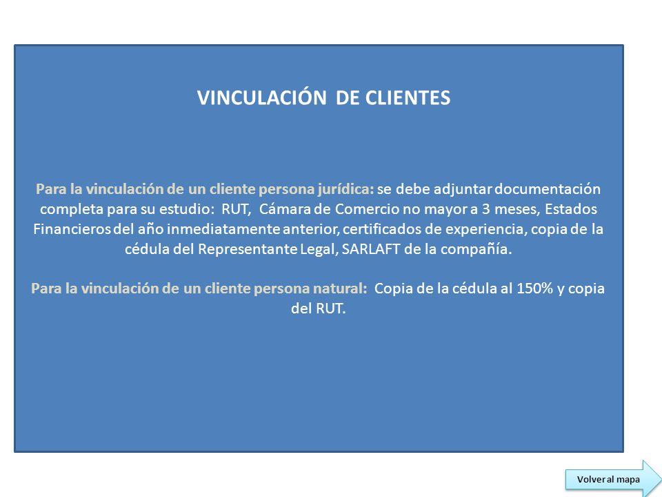 Para la vinculación de un cliente persona jurídica: se debe adjuntar documentación completa para su estudio: RUT, Cámara de Comercio no mayor a 3 mese