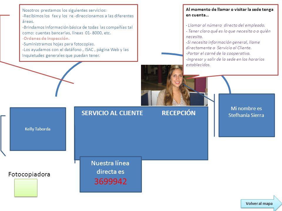 RECEPCIÓN Fotocopiadora SERVICIO AL CLIENTE Kelly Taborda Nosotros prestamos los siguientes servicios: -Recibimos los fax y los re -direccionamos a la