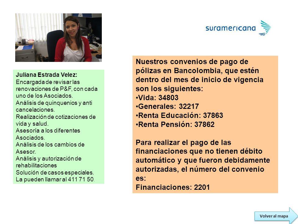 Volver al mapa Juliana Estrada Velez: Encargada de revisar las renovaciones de P&F, con cada uno de los Asociados. Análisis de quinquenios y anti canc