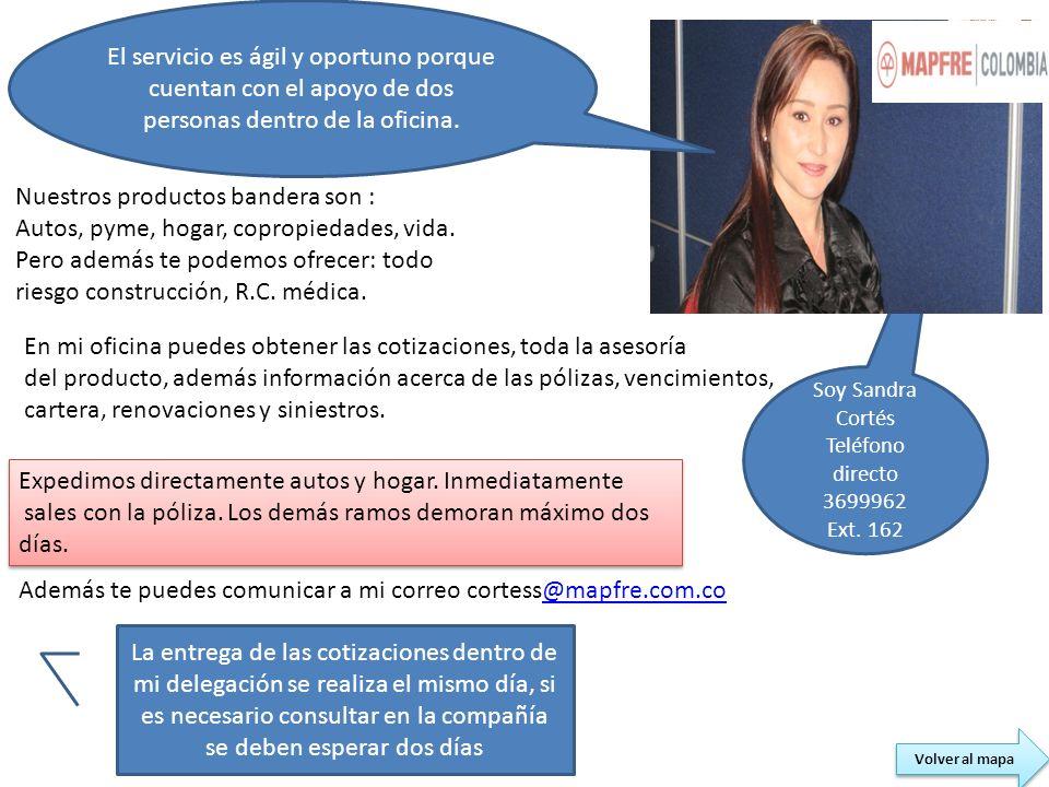 Soy Sandra Cortés Teléfono directo 3699962 Ext. 162 Nuestros productos bandera son : Autos, pyme, hogar, copropiedades, vida. Pero además te podemos o